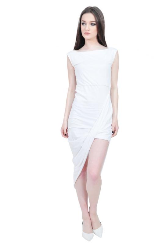 asymmetrical white designer dress