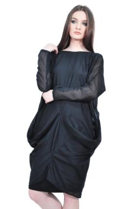 elegant black folds designer dress