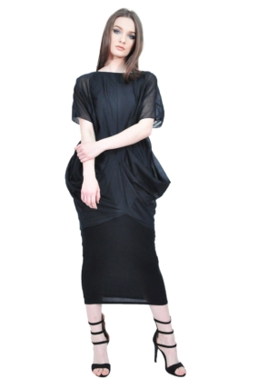 black folds designer dress