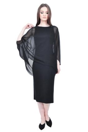 elegant midi black designer dress